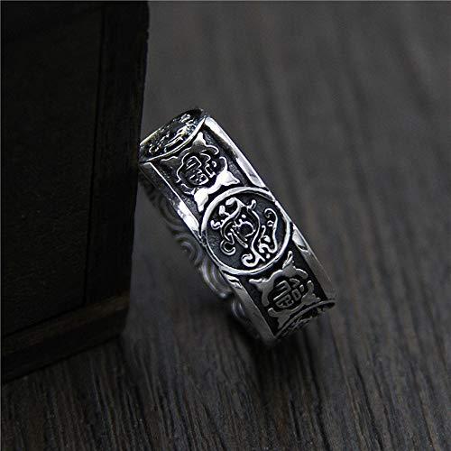 Keai Heren opening verstelbare ring 925 sterling zilver doen oude retro vier-god beest ring