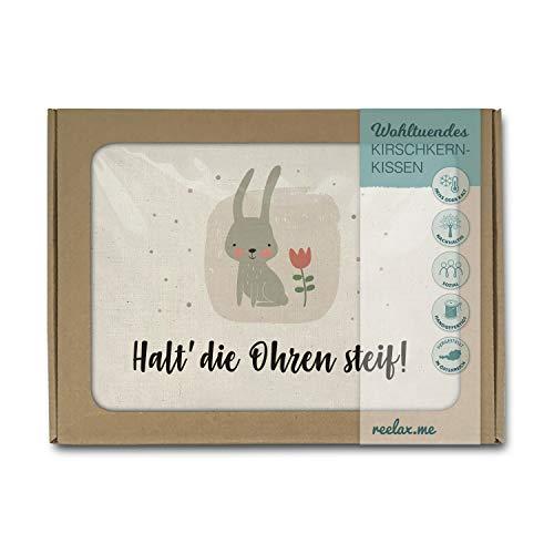 Kirschkernkissen als Wärmekissen o. Kühlkissen aus naturbelassener Baumwolle, 26x19cm. Handgenähte Geschenke im Handlettering-Stil im Geschenk-Karton. Hase, halt die Ohren steif