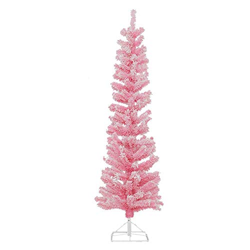 Christmas Pine Tree Artificial Pink Pencil 4ft Christmas Tree with Metal Folding Stand Indoor Outdoor-Pink 4ft