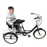 Bicicletta triciclo da 20 pollici per adulti a velocità singola, 3 ruote con cestino per la spesa, cestino pieghevole