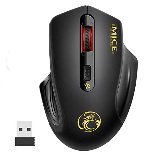 Mouse Senza Fili - iAmotus Wireless Mouse 2.4G con Ricevitore USB, 3 Livelli DPI Regolabile Mouse Ergonomico Risparmio Energetico con Click Silenzioso for Notebook,PC, Laptop, Computer, Macbook - Nero