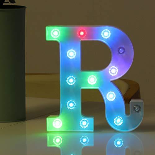 HYFILOD Alphabet Symbol Battery-Powered LED Colorful Decorative Night Light Children s Gift Wedding Birthday Party Decoration (Letter R)