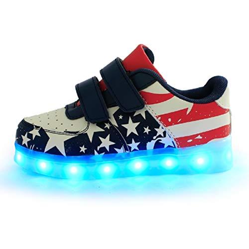DoGeek Zapatos Led Blanco Negras LED Zapatillas Luces Luminosos Zapatillas 7 Color USB Carga Led Deportivos para Hombres Mujeres(Elegir 1 tamaño más Grande)