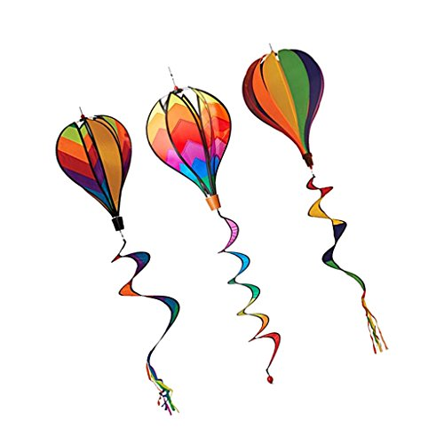 Toygogo Windspiel Ballon Heißluftballon Windspinner Windspirale 3er Set