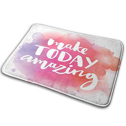 PbbrTK Tapis de Tapis de Salle de Bain antidérapant,Make Today Incroyable Citation Inspirante Fond Coloré Aquarelle Splash,Tapis de Bain Moderne en Microfibre Tapis de Tapis de Bain Doux,29.5\