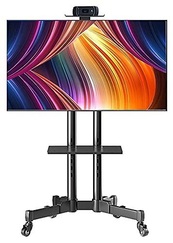 TabloKanvas Soporte de TV inclinable para televisores de 40 a 65 pulgadas, soporte para TV de piso con ruedas y estante (color negro)
