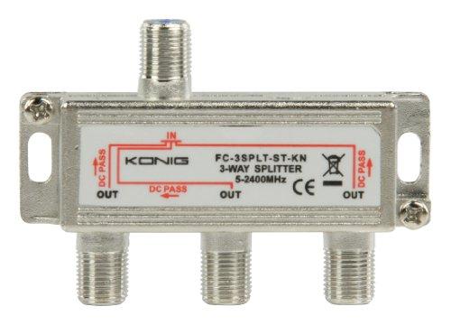 KÖNIG Digital 3-Fach SAT Antennen Kabel TV BK Verteiler Splitter HDTV 3fach F Verteiler Fernsehen Fernseher Full HD Switch 3er dreier dreifach Weiche Umschalter F-Stecker Stammleitungsverteiler