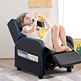 Vitesse Kids Recliner Chair, Children PU Leather Recliner Sofa for Boys and Girls, Toddler Recliner Chair for Kids Room with Pocket,Faux Leather Single Sofa for Children Room (Blue)