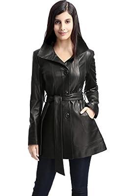 BGSD Women's Madison New Zealand Lambskin Leather Coat Black Large
