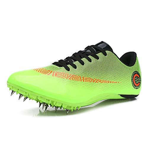 X/L Zapatillas de Atletismo Spikes Hombre Mujer Zapatillas de Correr a Distancia Zapatillas de Carrera de Atletismo atlético con Clavos Niños Niñas (Color : E, Size : 4 UK)