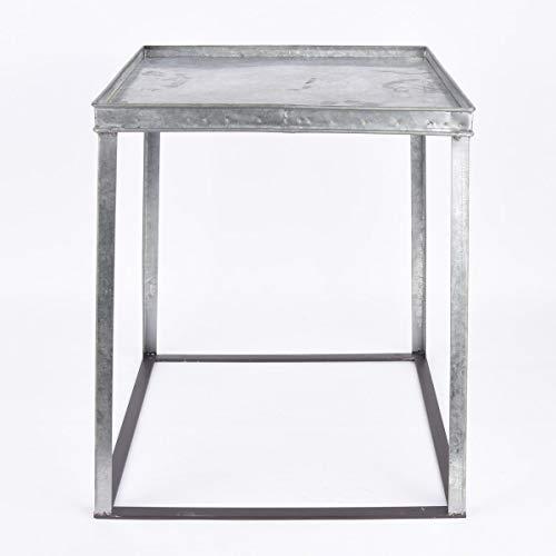 Mooi leven. Bijzettafel stapelbaar verzinkt metaal zilverkleurig 45x45x50cm