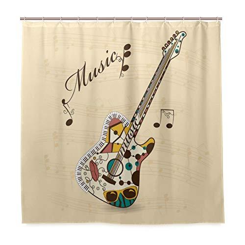 DYCBNESS Duschvorhang,Gitarren Abstract Funk Instrument Print,Vorhang Waschbar Langhaltig Hochwertig Bad Vorhang Polyester Stoff Wasserdichtes Design,mit Haken 180x180cm