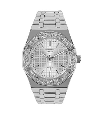 Bling-ed Out Men's 40mm Dial CZ Silver Watch with Tapered Band | Japan Movement | Simulated Lab Diamonds