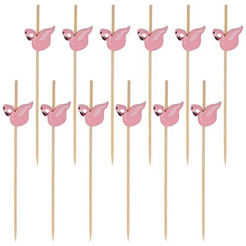 IMIKEYA 100pcs Pink Flamingo Cocktail Picks Long Bamboo Fancy Toothpicks Food Garnish Skewer Sticks for Appetizers Drinks Fruits Hawaiian Party Supplies