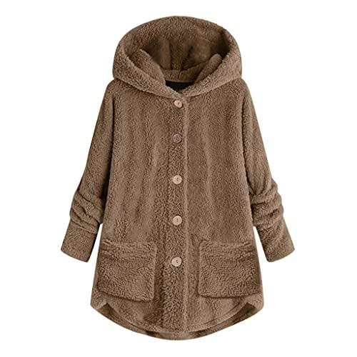 Sudadera de forro polar con capucha para mujer, cálida, otoño, invierno, mullida, de manga larga, grande