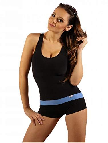 STANTEKS Damen Badeanzug mit Bein Schwimmanzug Hotpants mit Schwimmerrücken SK0021 (38, Blau)