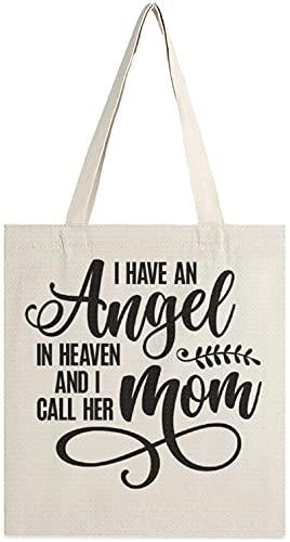 MODORSAN Tengo un ángel en el cielo y llamo a su mamá Bolso de lona, bolsos de hombro, bolsos de compras para niñas, bolsos para artículos diversos, bolsos para llevar libros