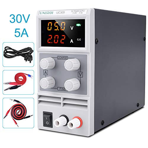 DC Power Supply Variable, UNIROI 30V/5A Adjustable Switching Regulated Power Supply with 3-Digit LED Display, Alligator Clip Leads, Input Power Cord, Reverse Polarity/High Temperature Protection UC305