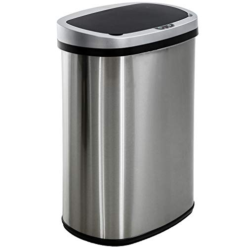 13 Gallon/50 Liter Garbage Can Automatic Kitchen Trash Can for Bathroom Bedroom Home Office Automatic Touch Free High-Capacity with Lid Brushed Stainless Steel Waste Bin Louisiana