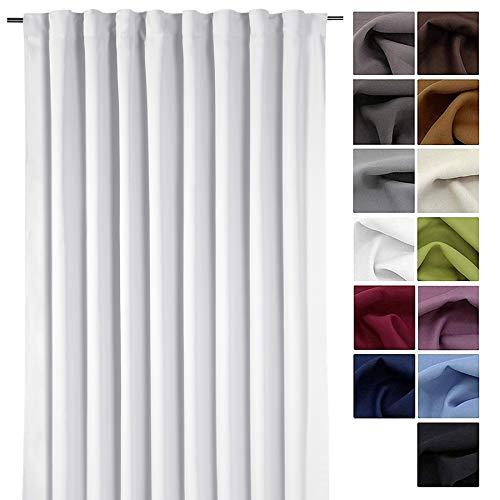 Gardine XXL Dekoschal Blickdicht Verdunkelungsgardine Thermogardine HxB 245x275 cm Kälte- und Wärmeisolierung …auspacken, aufhängen, fertig! Vorhang Typ139 (grau-weiß)