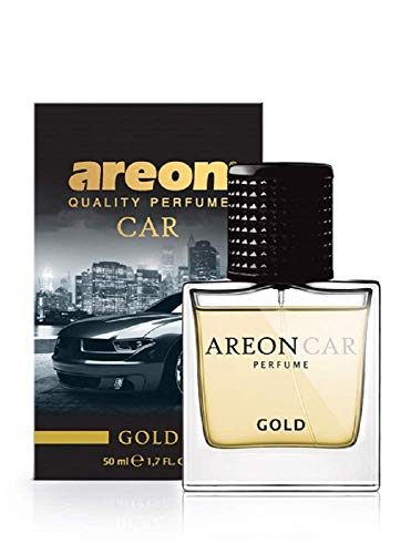 AREON Car Perfume 1.7 Fl Oz. (50ml) Glass Bottle Air Freshener, Gold