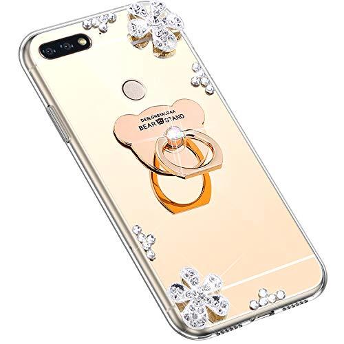 Uposao Kompatibel mit Huawei Honor 7C Hülle Silikon Spiegel Handyhülle Schutzhülle mit 360 Grad Ring Ständer Glitzer Kristall Strass Diamant Mädchen Handy Tasche Silikon Hülle Case,Gold