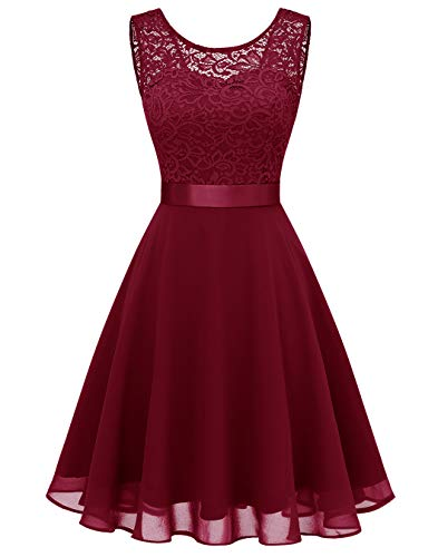 BeryLove Damen Spitzenkleid Brautjungfer Elegant Party Knielang Cocktailkleid Chiffon Ärmellos BLP7005B-DarkRedS