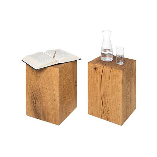GREENHAUS Natürlich wohnen Holzklotz Beistelltisch 30x30x50 cm deutsche Eiche massiv, handgefertigter Holzblock Hocker