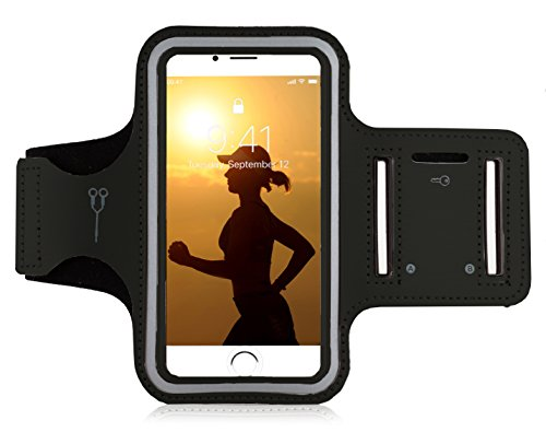 "MyGadget Sportarmband Hülle - Jogging Case Armband für 6.0"" Display Fitness Sport Armtasche für Apple iPhone XS X 8 Plus 7+ 6+, Galaxy S10 S9 - Schwarz"