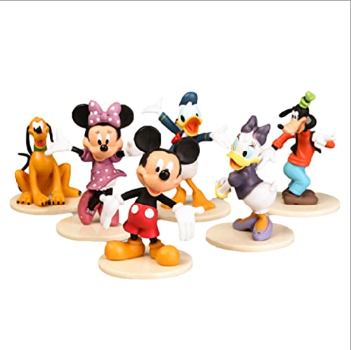 6Pcs/Set Toys Cute Cartoon Mickey Mouse Donald Duck Minnie Mini Birthday Decor Toys Pvc Action Figures For Kids Gifts 5-9Cm