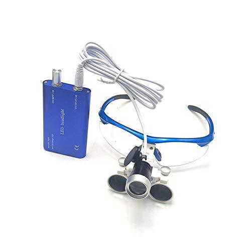 2.5X Dedicado Dental Lupa Galileo Anti Niebla Binocular Marco de Gafas Médico Lupa con LED Faro