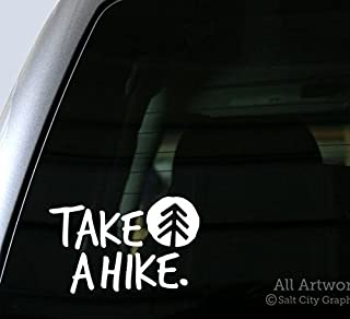 Salt City Graphics Take A Hike Decal - Car Window Decal (5 inches Wide, White)