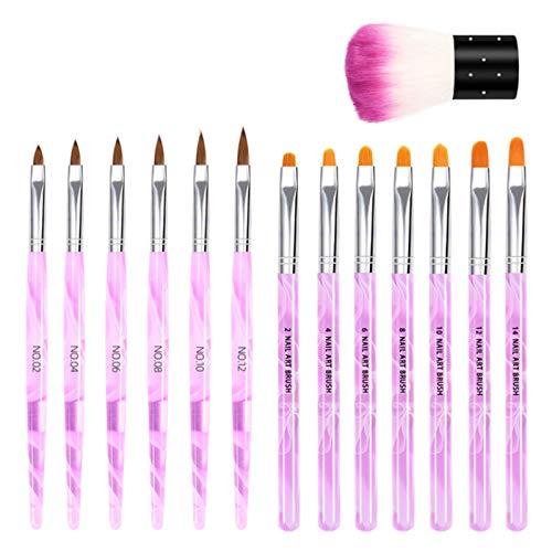 Anself 14 Stück Acryl Nagelbürsten Kit Nail Art Brush Kit UV Gel Nail Builder Pinsel für Nail Art Design Malerei Zeichenstift Set mit Staubbürste Nagel Werkzeug