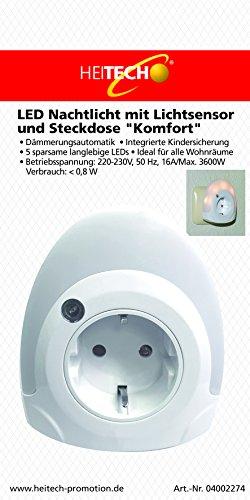 Heitech 04002274 LED Nachtlicht mit Lichtsensor und Steckdose Komfort weiß