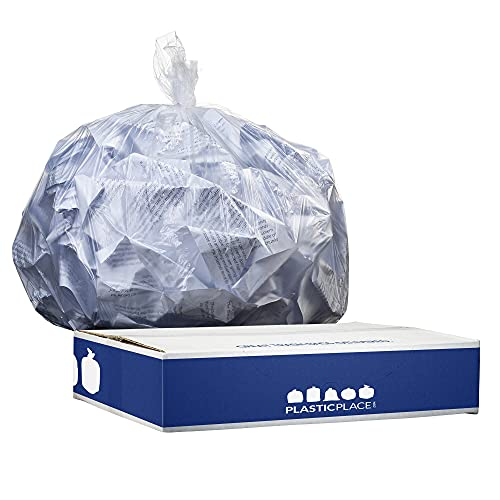 Plasticplace 12-16 Gallon Trash Bags │ 8 Microns │ Clear High Density Liners │ 24