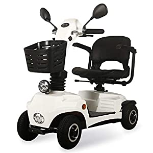 4 Wheel Electric Mobility Scooter Folding Lightweight,Foldable Wheelchair 44cm Wide Seat,Seniors Power Chair Travel Portable Heavy Duty,250w 16ah Batterry Endurance 20 Km,high Power Charger,White