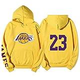 # 23 Lakers James Baloncesto con Capucha Camiseta con Capucha Camisa más Fleece Sudadera de Manga Larga Sudadera Pullador Abrigo Yellow-M