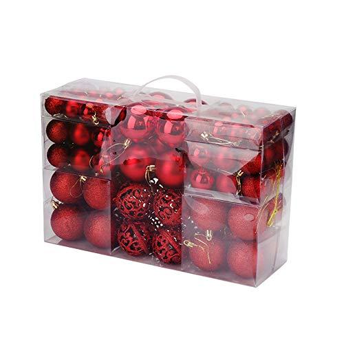 ACAMPTAR Bola de áRbol de Navidad para DecoracióN del Hogar, Adorno Colgante 2020, Adorno DIY para Colgar en la Casa, Fiesta, 100 Piezas (Rojo)