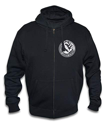 KNOW-MORE-STYLEZ Sweatjacke Hardcore Gabber Germany Fist mit Kapuze (L)