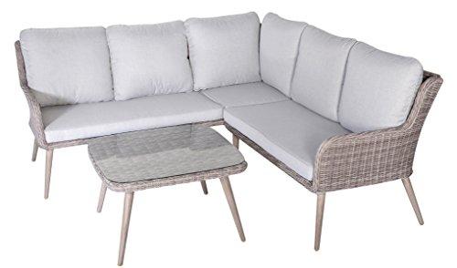 PEGANE Salon de Jardin Angle de 3 pièces en résine tressé/Aluminium