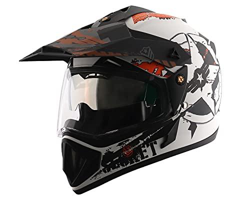 Off Road D/V Secret Dull White Black Helmet-M
