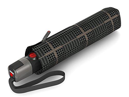 Knirps T.300 Taschenschirm Duomatic Sherlock Tobacco - inkl. Futteral im Schirmdesign - Schutz für 2 Personen - 100% Polyester - Windkanal getestet - robust, stabil, kompakt&komfortabel
