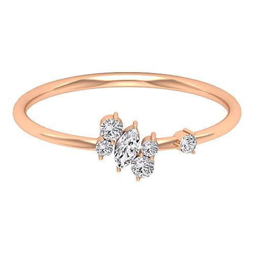 Rosec Jewels - 10 K Rotgold Runder Brilliantschliff Markise Leicht Getöntes Weiß/Top Crystal (I) Diamant