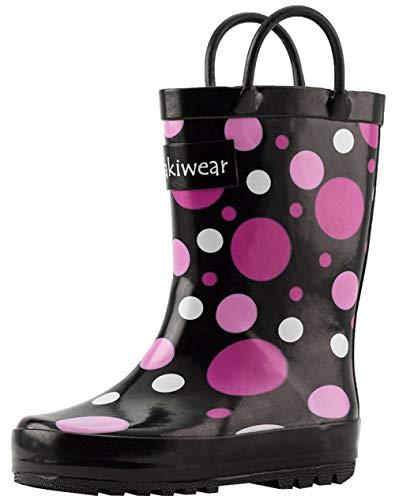 OAKI Kids Rubber Rain Boots with Easy-On Handles, Purple Polka Dot, 2Y US Youth, Purple Polka Dot
