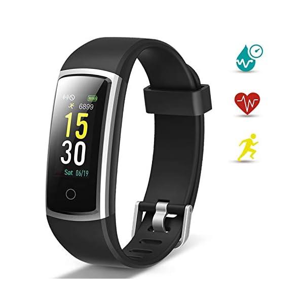 Lintelek Pulsera Actividad, Reloj Inteligente con Medidor de Ritmo Cardíaco Presión Arterial, Reloj Deportivo Compatible… 1