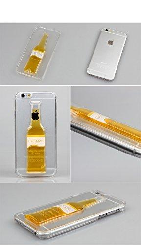 pcjob Cover Case Custodia plastica Rigida per iPhone 6 Bottiglia Birra Rilievo Cocktail Liquido Giallo