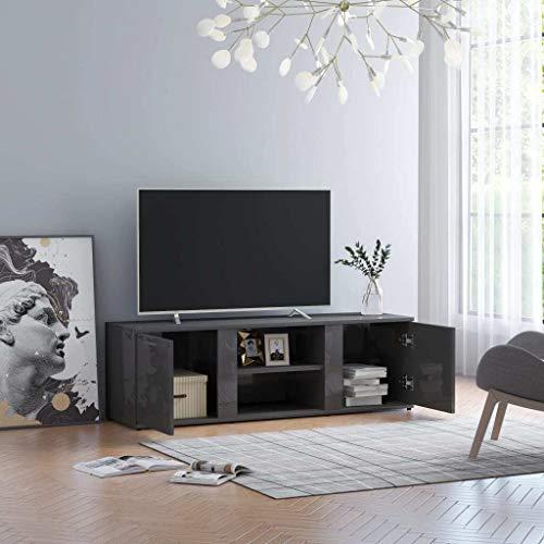 vidaXL Mueble para la TV Armario Muebles Auxiliar Aparador para Soporte Televisor Salón Habitación Decoración de Aglomerado Gris Brillante