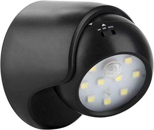 Proxinova™ Sensore di movimento a fulcro senza fili luminoso interno/esterno LED Portico luce/Riflettore - Auto ON/OFF, alimentato a batteria (nero)