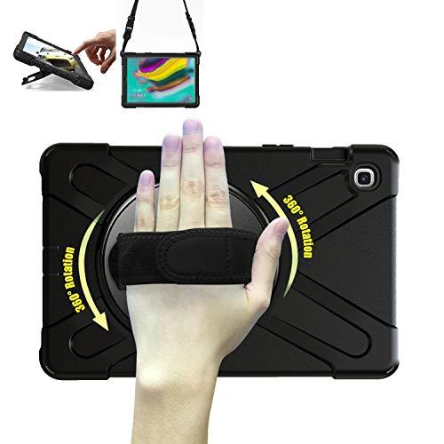 TH000 Hülle für Samsung Galaxy Tab S5e T720 Stoßfeste robuste Ganzkörper-Schutzhülle mit Ständer, Griff & Schultergurt 10,5 Zoll-Schutz SM-T720 T725 Hülle (Black)