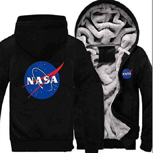 nveada Astronaut NASA Space Agency Winter Thicken Plus Velvet Zip Cardigan Hooded Sweater Men's Jacket